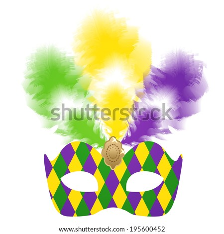 Mardi Gras carnival mask with colorful feathers - stock vector