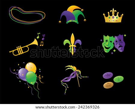 Mardi Gras Elements - stock vector