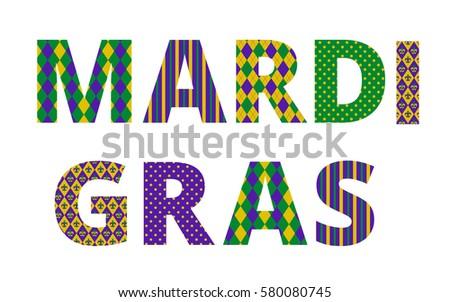 Mardi gras greetings traditional pattern letters stock vector mardi gras greetings with traditional pattern letters isolated on white m4hsunfo