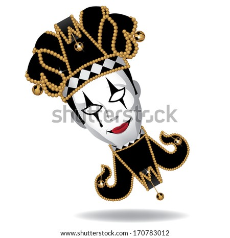 Mardi Gras guy with jester mask. EPS 10 vector, grouped for easy editing. No open shapes or paths. - stock vector