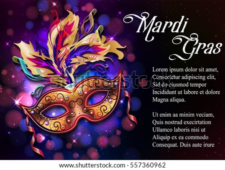 Mardi Gras Mask Colorful Poster Template Flyer With Place For Text Vector