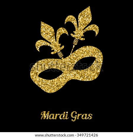 Mardi Gras mask from gold glitter. Venetian carnival mask. Vector illustration - stock vector