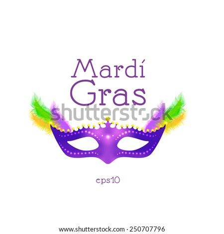 Mardi Gras. Purple mask with feathers. - stock vector