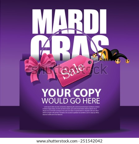 Mardi Gras sale shopping bag background. EPS 10 vector, grouped for easy editing. No open shapes or paths. For ads, marketing, poster, flyer, blog, article - stock vector