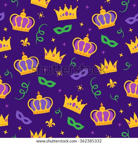 Mardi Gras seamless pattern with crown, carnival masks, holiday ribbon, fleur-de-lis and sparkles. Perfect for wallpaper, pattern fills, web page background, textile, holiday greeting cards - stock vector