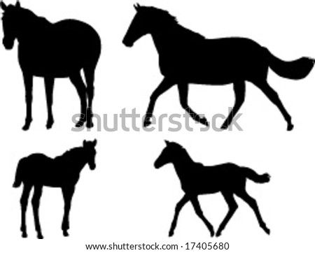 Mare and foal mother baby equine horse silhouette - Vector Illustration - stock vector