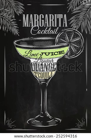 Margarita cocktail in vintage style stylized drawing with chalk on blackboard - stock vector