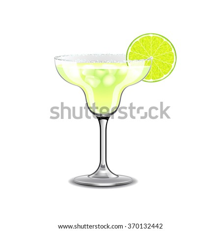Margarita cocktail isolated on white photo-realistic vector illustration - stock vector