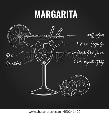 Margarita cocktail recipe. White illustration on a black background