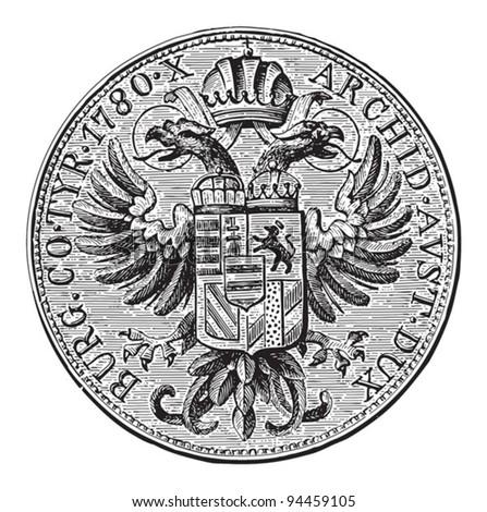 Maria Theresa thaler Austria (1780) / vintage illustration from Meyers Konversations-Lexikon 1897 - stock vector