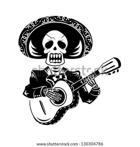 Mariachi guitar player for Day of the Dead - stock vector