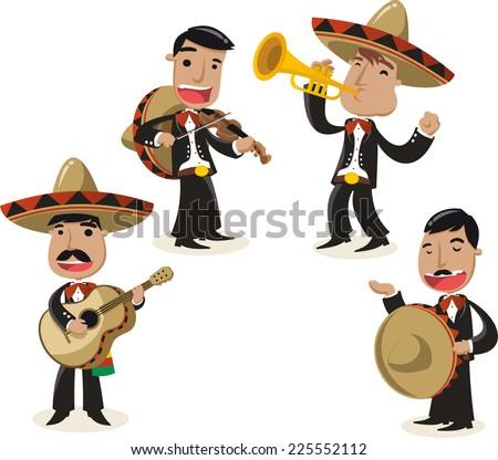 Mariachi music band musicians illustration - stock vector