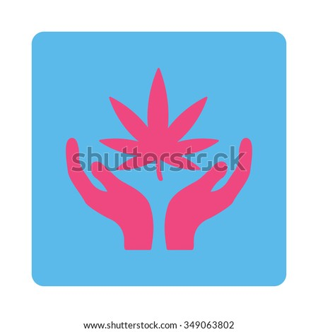 Marihuana Care vector icon. Style is flat rounded square button, pink and blue colors, white background. - stock vector