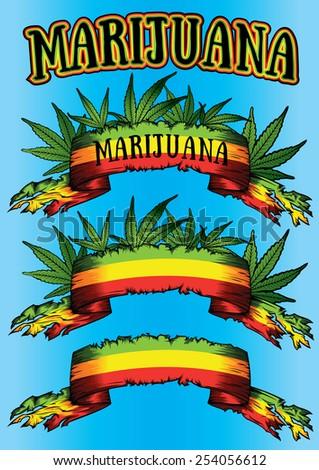 marijuana cannabis jamaican colors parchment design background - stock vector