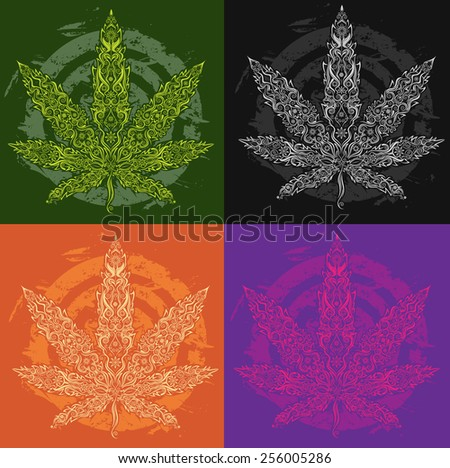 marijuana cannabis textured leaf symbol - stock vector