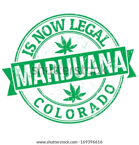 Marijuana is now legal, Colorado green grunge rubber stamp, vector illustration