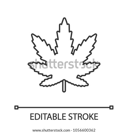 Marijuana Leaf Linear Icon Thin Line Stock Vector 1056600362