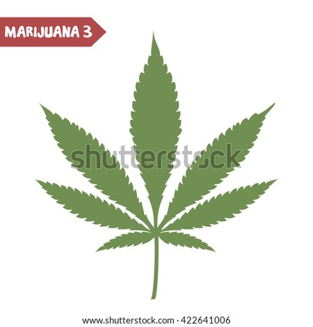 Marijuana leaf. Medical cannabis leaf isolated on white. Graphic design element for web, prints, t-shirt. Vector illustration. - stock vector