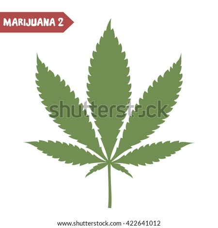 Marijuana leaf. Medical cannabis leaf isolated on white. Marijuana legalization. Graphic design element for web pages and articles, prints, t-shirt decoration. Vector illustration. - stock vector