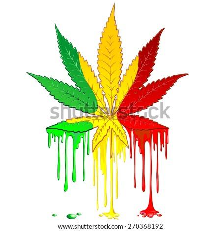 Marijuana Leaf Rasta Colors Dripping Paint - stock vector