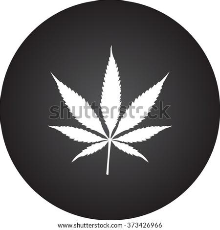 Marijuana leaf simple icon on colorful round background - stock vector