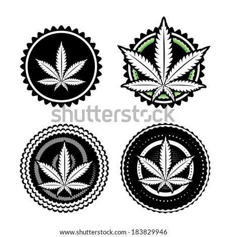 marijuana leaf symbol stamp vector design  - stock vector