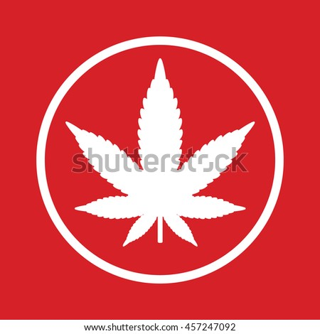 Marijuana leaf vector icon. Red background - stock vector