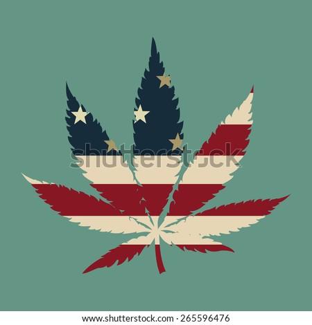 Marijuana leaf with the USA flag colors vector illustration - stock vector