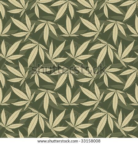 marijuana leaves in one pattern - stock vector