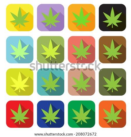 Marijuana or cannabis vector flat icon - stock vector