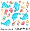 marine animal kawaii character...