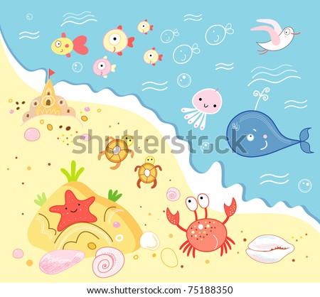 marine animals - stock vector