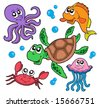 Marine animals collection - vector illustration. - stock photo