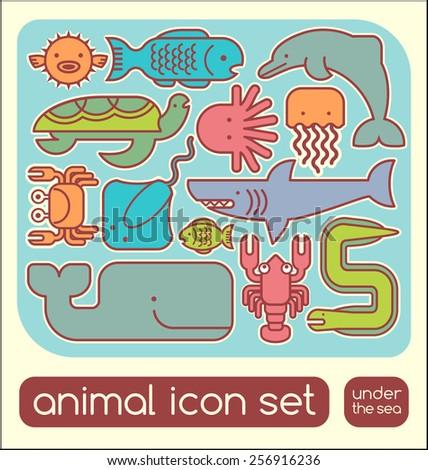 Marine animals icon children's puzzle set - stock vector