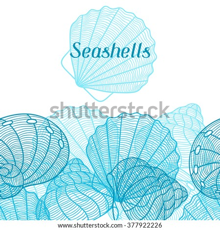 Marine background with stylized seashells. Design for cards, covers, brochures and advertising booklets.