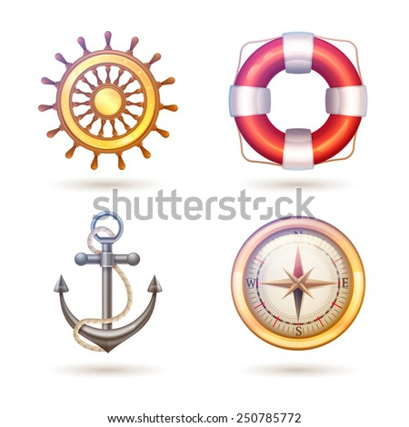 Marine decorative icons symbols set with anchor lifebuoy compass and steering wheel isolated vector illustration - stock vector
