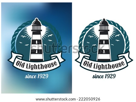Marine emblem with lighthouse, rope and banner with text, for transport heraldry or logo design - stock vector