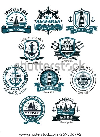 Marine emblems and banners with helm, rope, yacht, lighthouse, trident, anchor and ships - stock vector