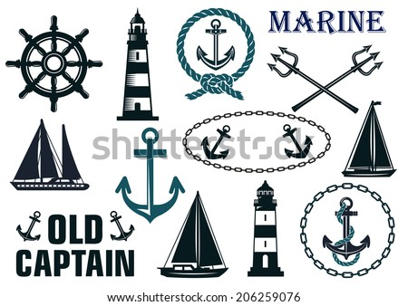 Marine heraldic elements and logo set with anchors, lighthouse, yachts, sailboats, ropes and steering wheel - stock vector