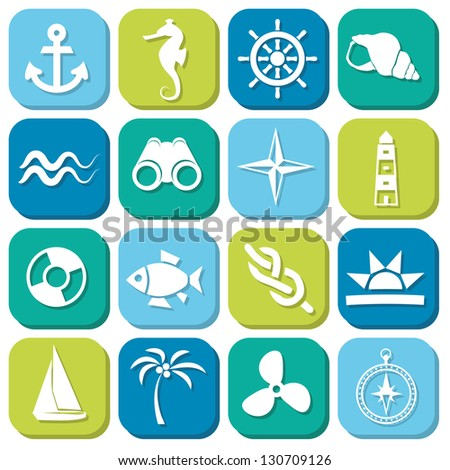 marine icons in squares - stock vector