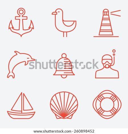Marine icons, thin line style, flat design - stock vector