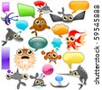 marine life cartoon character set 2 - stock vector