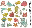 Marine life doodles - Hand drawn collection in vector - stock vector