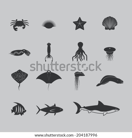 Marine life icons - stock vector