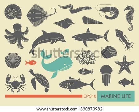 Marine life icons - stock vector