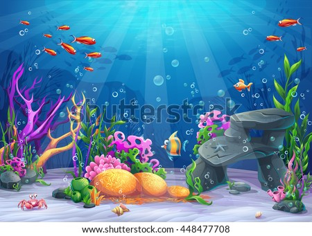 marine life landscape the ocean and underwater world with different inhabitants for print - Pictures For Print