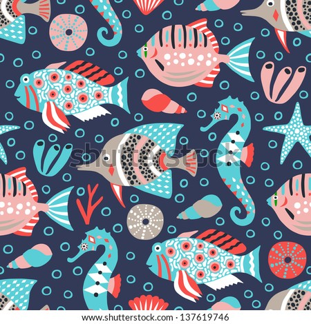marine life seamless background - stock vector