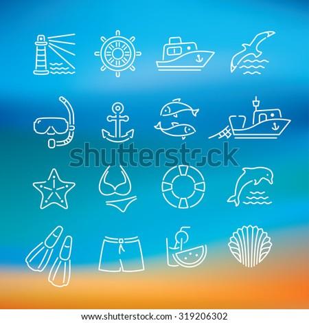 Marine line icon, logo, logotype - dolphin, lighthouse, seagull, bird, boat, ship, fishing, fish, anchor, starfish, swimsuit, shorts, fins, steering wheel, lifebuoy, watermelon, cocktails, shell - stock vector