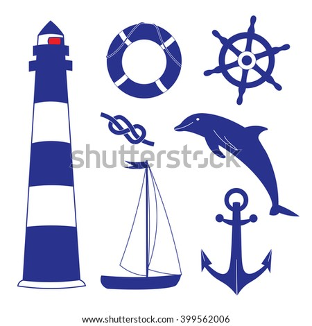 Marine objects. Blue ocean set. Nautical vector isolated set of objects. - stock vector