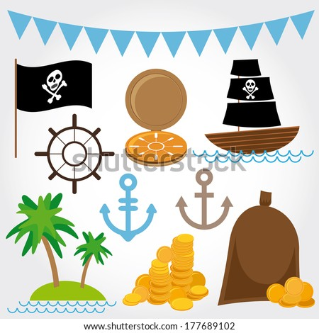 Marine Pirate Illustrations set on white background. Vector